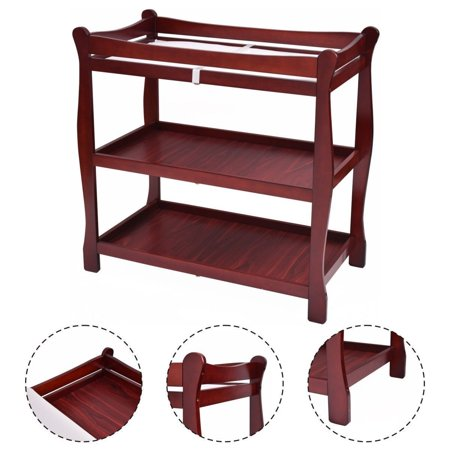 Cherry Baby Changing Table - Costway Cherry Sleigh Style Baby Infant Newborn Changing Table Nursery Diaper Station
