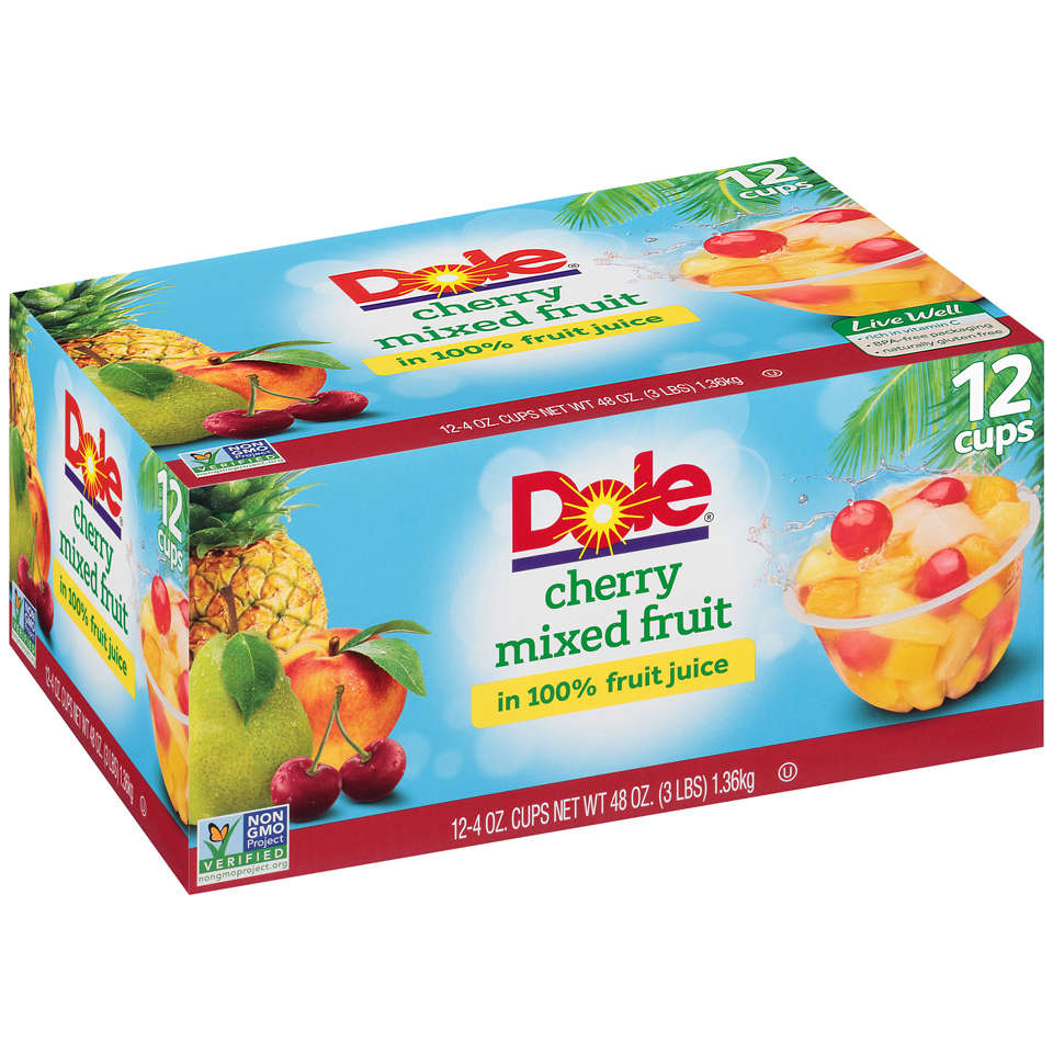 (2 Pack) Dole Fruit Bowls Cherry Mixed Fruit in 100% Fruit Juice, 12 - 4 oz cups