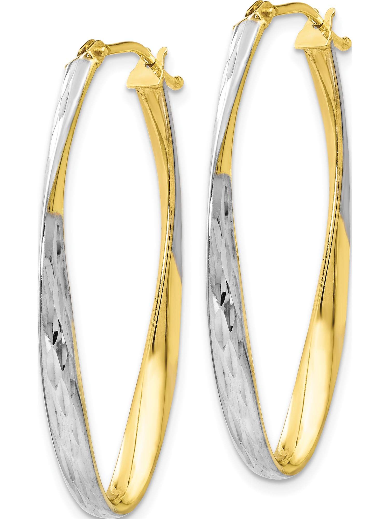 Perfect Jewelry Gift Leslies 10k Polished and D//C Oval Hinged Hoop Earrings