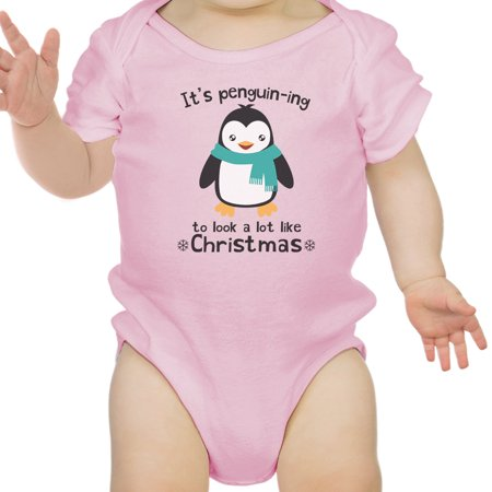 Christmas - It\'s Penguin-Ing Funny Baby Girl Bodysuit Pink First ...