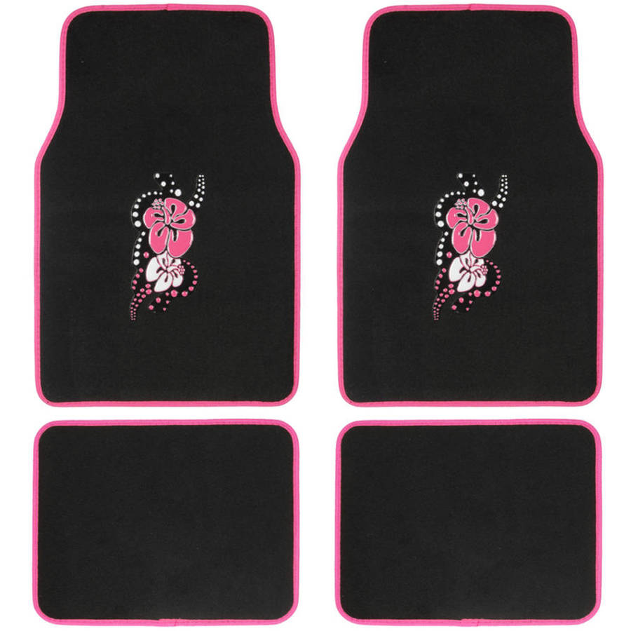 BDK Pink Hawaiian Flower Design Carpet Floor Mats for Car SUV, 4 Piece Set