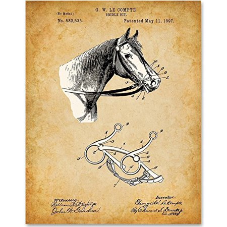 Horse Bridle Bit - 11x14 Unframed Patent Print - Great Gift for Horse Lovers, Equestrians, Horse Racing Fans and Country Decor - Racing Decor