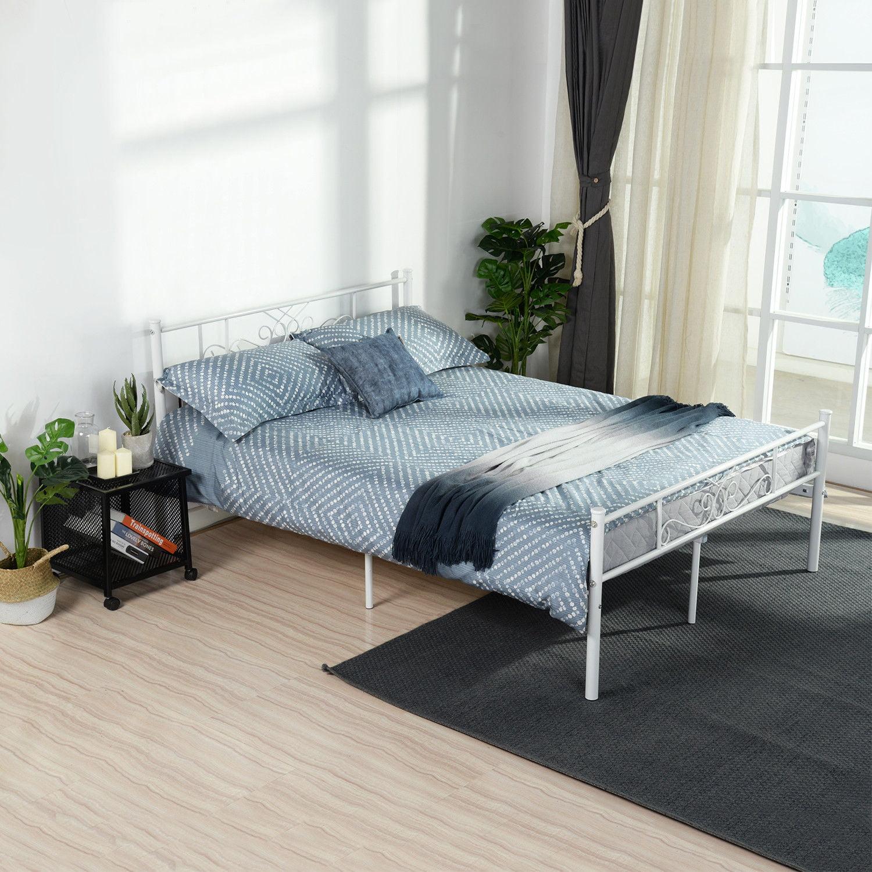 Queen Size Metal Bed Frame Bedroom Mattress Platform Foundation with Headboard
