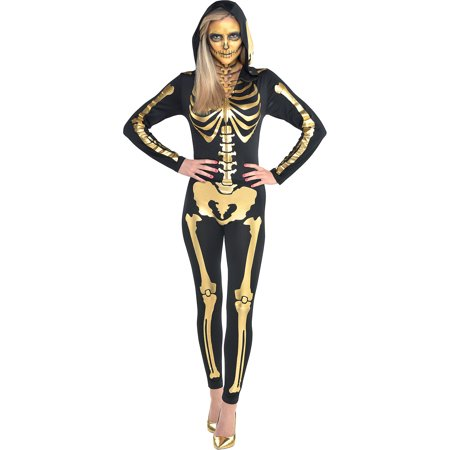 Sew It Yourself Halloween Costumes (Suit Yourself 24 Carat Bones Skeleton Halloween Costume for Women, with Attached)