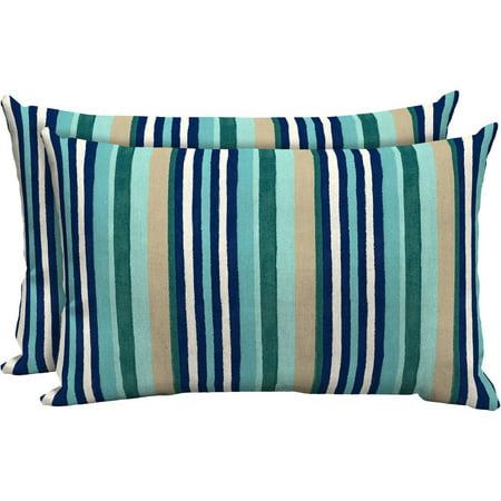 Mainstays Outdoor Patio Lumbar Pillow, Set of 2, Multi Dot Stripe - Mainstays Outdoor Patio Lumbar Pillow, Set Of 2, Multi Dot Stripe
