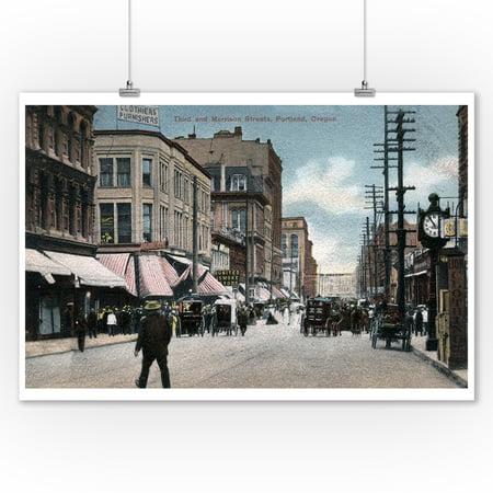 Portland, Oregon - Third and Morrison Street Corner View (9x12 Art Print, Wall Decor Travel