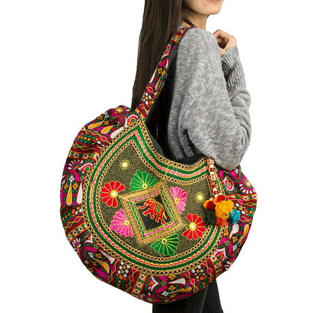 Hippie Handmade Shoulder Tote Bag Boho Red Patchwork Embroidered Pom (Weekend Patchwork Tote)