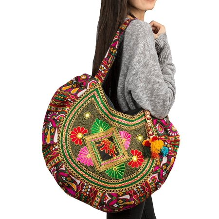 Holiday Patchwork Tote - Hippie Handmade Shoulder Tote Bag Boho Red Patchwork Embroidered Pom Pom