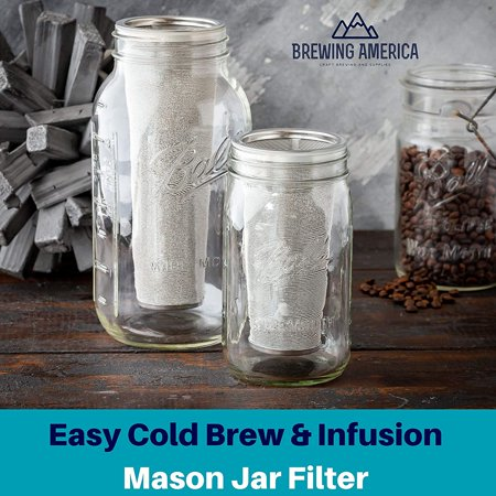 Cold Brew Filter for Mason Jar Wide Mouth Coffee Maker, UPGRADED Stainless Steel Mesh with ...