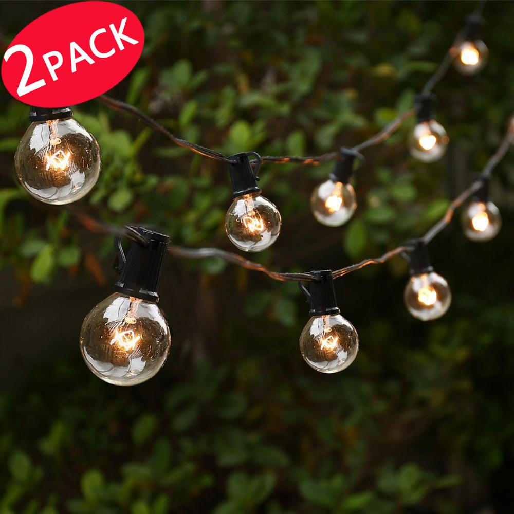 2 PACK Bright Globe String Lights with 25ft 25 Bulbs Party Decorative Lighting for Indoor Outdoor, Patio, Lawn, Garden,... by Qedertek