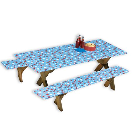 Americana Wipe Clean 3pc Picnic Table Covers For 4th Of July