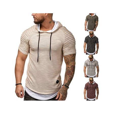 NEW Mens Short Sleeve Hooded T-Shirt Slim Fit Casual Graphic Basic