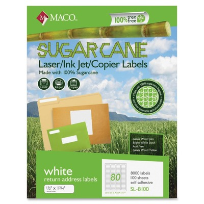 MACO Laser / Ink Jet File / Copier Sugarcane Return Address Labels MACMSL8100