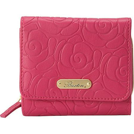 Buxton Rose Garden Accordion Zip French Wallet