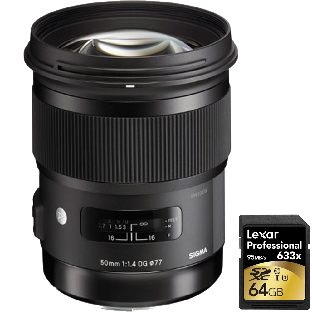 Sigma 50mm f/1.4 DG HSM Lens for Canon EF Cameras with Lexar 64GB Professional 633x SDXC Class 10 UHS-I/U3 Memory Card Up to 95 Mb/s