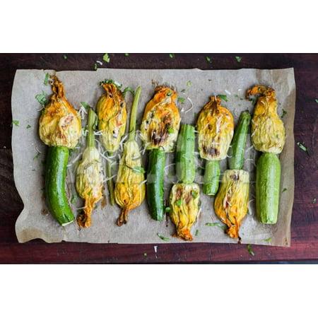 - Fried Zucchini Flowers Stuffed with Cream Cheese, Ricotta, Tasty Italian Dish Summer Print Wall Art By Lapina Maria