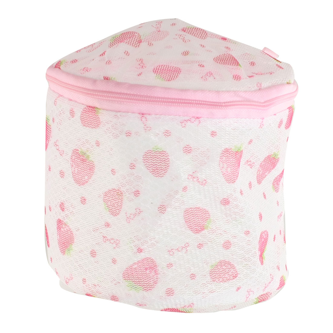 Unique Bargains Nylon Strawberry Pattern Zipper Mesh Laundry Underwear Washing Bag