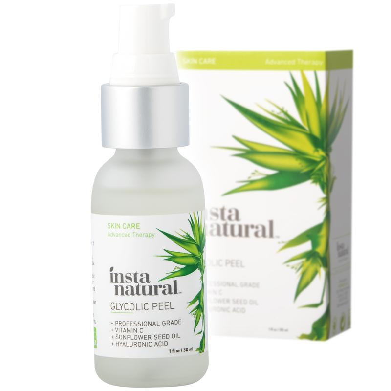 InstaNatural Glycolic Acid Peel - With Vitamin C, & Hyaluronic Acid - Best Treatment to Exfoliate Deep, Minimize Pores & Reduce Breakouts, Appearance of Aging & Scars - 1 OZ