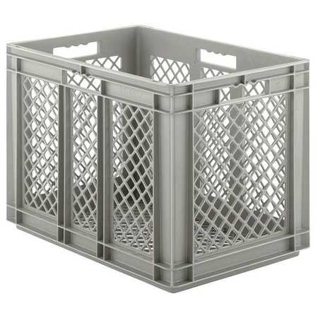 Ssi Schaefer 33 lb Capacity, Grated Wall Stacking Container, Gray EF6423.GY1