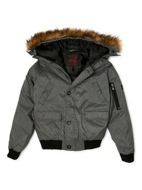 Yoki Boys Heavyweight Nylon Bomber Jacket with Fur Trim Hood, Sizes 8-20