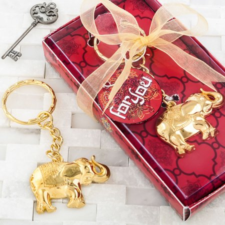 36 GOLD METAL GOOD LUCK ELEPHANT KEY CHAIN - Elephant Keychain
