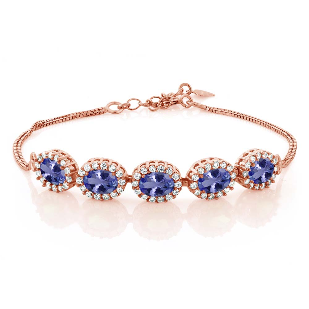 5.14 Ct Oval Blue Tanzanite AAA 18K Rose Gold Plated Silver Bracelet by