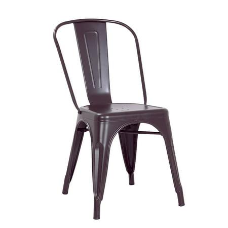 - Modern Matte Dark Brown Metal Dining Room Kitchen Bar Chair, 18 inch seat Height, Set of 2