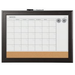 "Quartet Magnetic Calendar Board, 17"" x 23"", Espresso Frame (79275)"