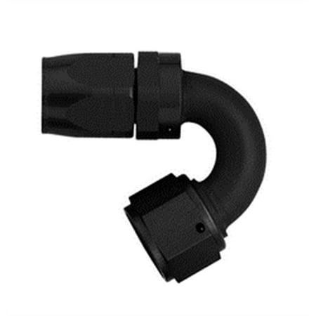 Aeroquip FCM4452 AQP Hose Fitting; -06AN Hose Size; 150 deg. Elbow; Swivel; Aluminum; Black Anodized;
