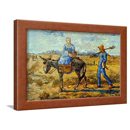 Morning with Farmer and Pitchfork; His Wife Riding a Donkey and Carrying a Basket Framed Print Wall Art By Vincent van Gogh