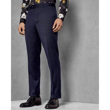 Ted Baker London Debonair Plain Wool Trousers Pants, Dark Blue, (Tropical Wool Trousers)