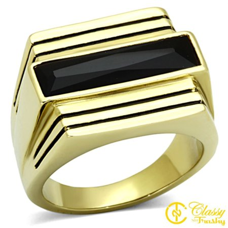 Classy Not Trashy® Men's Gold Toned Lust Jet Colored Glass Domed Shaped Ring - Size 9 Shape Glass Dome Ring