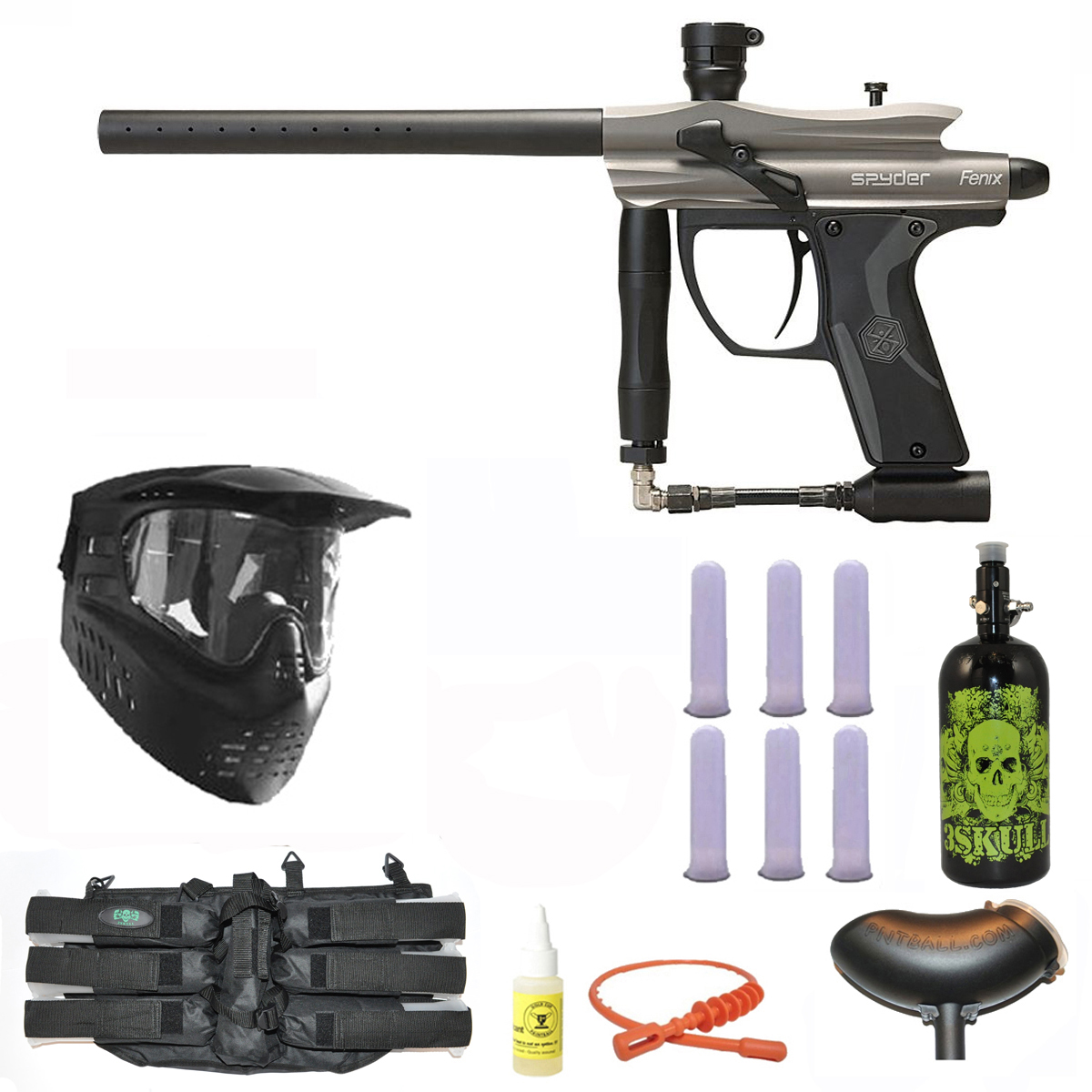 Spyder Fenix Electronic Paintball Marker Gun 3Skull N2 Mega Set Silver Grey by