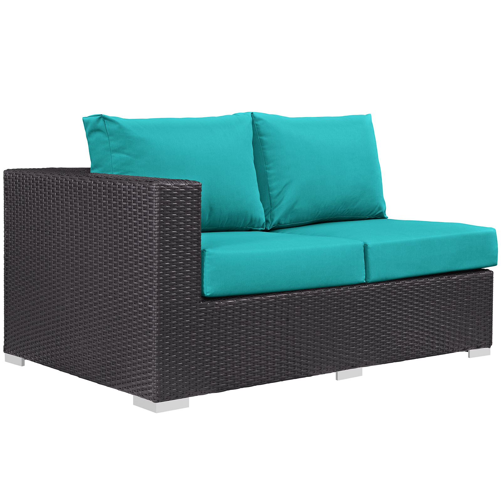 Modern Contemporary Urban Design Outdoor Patio Balcony Left Arm Loveseat Sofa, Blue, Rattan