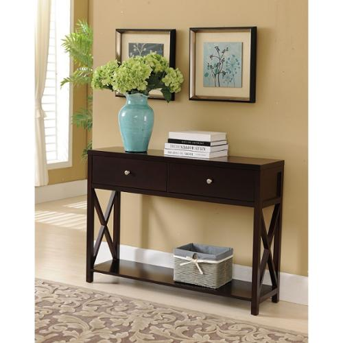 K and B Furniture Co Inc K and B Console Table, Dark Cherry