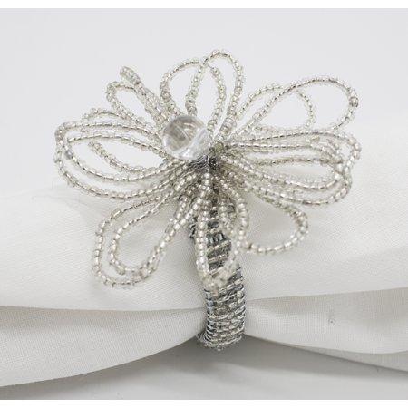Fennco Styles Hand Beaded Flower Design Napkin Ring-Set of 4 (Silver) ()