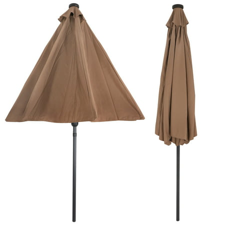 ZENY 10 ft Patio Umbrella LED Solar Power, with Tilt Adjustment and Crank Lift System, Perfect for Patio, Garden, Backyard, Deck, Poolside, and More (Solar LED - Tan)