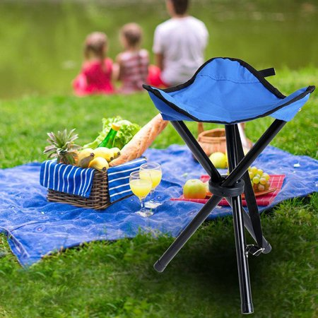Outdoor Portable Lightweight Tripod Three Feet Folding Blue Chair Camping Hiking Fishing Picnic Garden BBQ