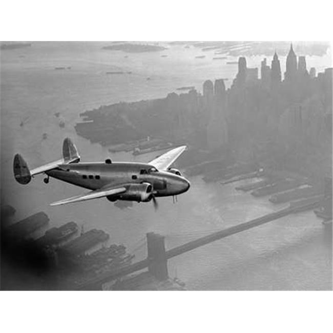 Tangletown Fine Art Airplane above Manhattan 1938 by Anonymous Poster Frame - 35 x 47 x 1.5 in.
