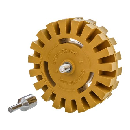 """Heavy Duty Rubber Eraser Wheel 4"""" Inch Pad & Adapter - Pinstripe, Adhesive Remover, Vinyl Decal, Graphics Removal Tool"""