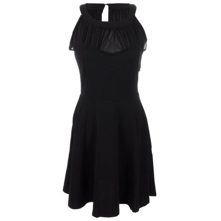 S/M Fit Black Sheer Pleated Bodice Sweetheart Neckline A-Line Dress