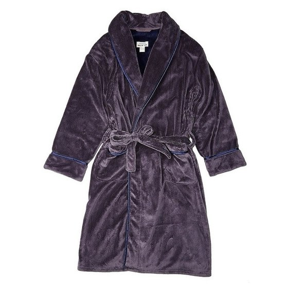 de220f652e The 100% polyester coral fleece fabric is machine washable and feels soft  and warm. Men s Colours Alexander Julian Contrast Trim Robe.