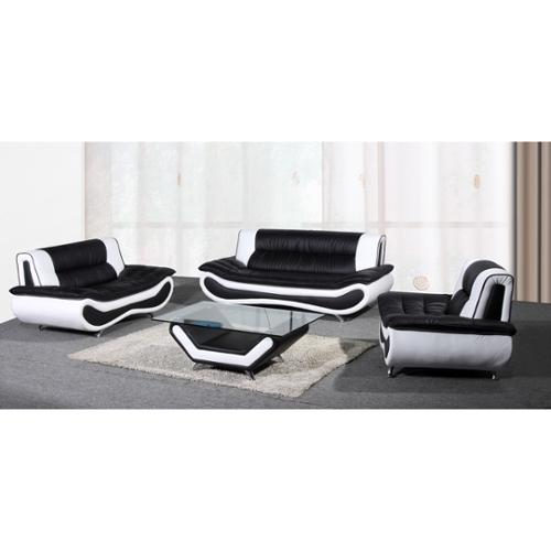 Beverly Furniture Christina Two-Tone Bonded Leather Sofa Set