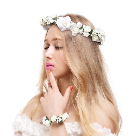 Flower Crown Delicate Headband Crown for Wedding, Ceremony, Flower Bracelet, Long Ribbon, 2 Pcs for $<!---->