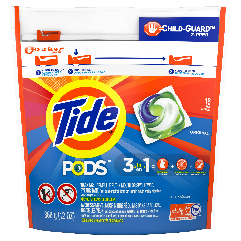 Tide PODS Liquid Laundry Detergent Pacs, Original, 16 count