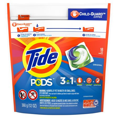 Tide PODS Liquid Laundry Detergent Pacs, Original, 16 count