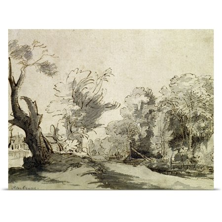 Great Big Canvas Rembrandt Van Rijn Poster Print Entitled Landscape With A Path  An Almost Dead Tree And A Footbridge Leading To A Farm