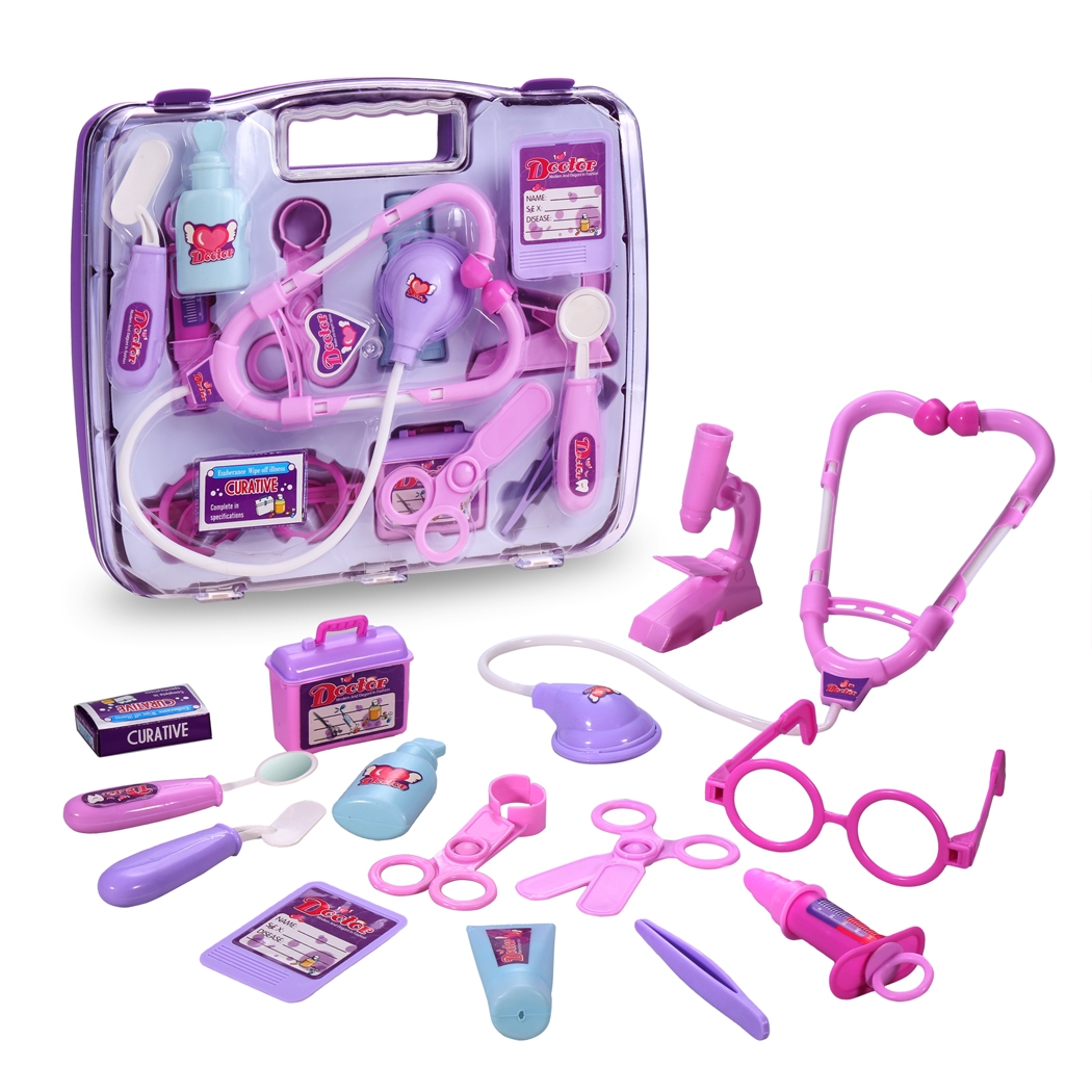 Purple Children Kids Educational Toys Game Pretend Doctor Nurse Medical Play Toy Gift with Carry Case
