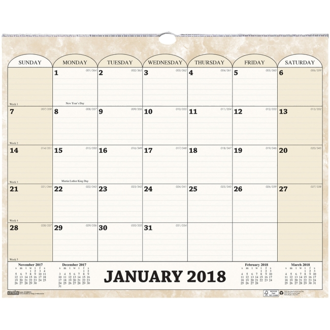 "House of Doolittle Horizontal Wall Calendar - Julian - Monthly - 1 Year - January 2018 till December 2018 - 1 Month Single Page Layout - 14.88"" x 12"" - Wire Bound - Wall Mountable - Cream - Paper"