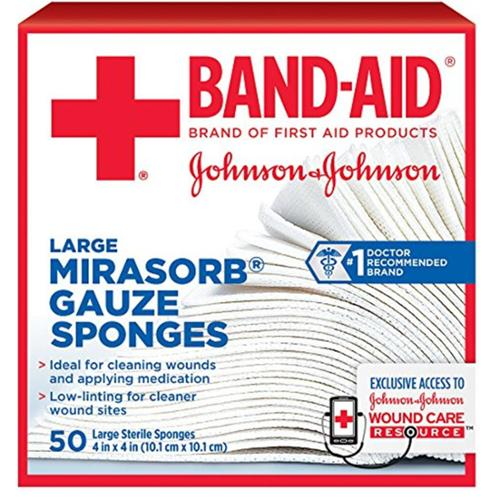 JOHNSON & JOHNSON Band-Aid Mirasorb Gauze Sponges 4 Inches X 4 Inches 50 Each (Pack of 6)